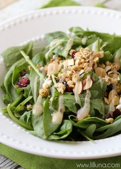 Spinach Salad with Granola, Cranberries and Cheese! #NatureValleyGranola