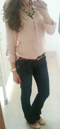 casual outfit, pretty blouse! Prefer it with some skinny jeans! jean, blouses, lilli style, church outfits, fashion blogs, work outfits, casual fridays, casual outfits, style blog