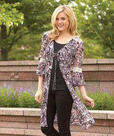 Women's Printed Long-Length Cardigans #LakesideCollection