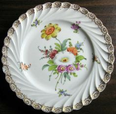 Decorative Dishes - Shabby Euro Porcelain White Purple Yellow Gold Edge Swirl Hand Painted Plate, $19.99 (http://www.decorativedishes.net/shabby-euro-porcelain-white-purple-yellow-gold-edge-swirl-hand-painted-plate/)
