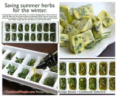 Freeze fresh herbs in olive oil, toss in a pan when needed