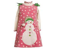 Girls Holiday -  PInk Fleece Snowman Jumper Dress