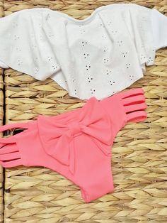 Eyelet Ruffle Bandeau Brazilian Swimwear by AZTECASWIMWEAR on Etsy, $34.00