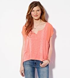 Embroidered Henley T-Shirt