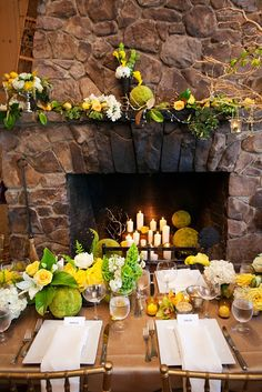 Elegant spring tablescape and mantel.