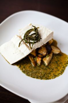 steamed halibut, roasted porcini mushrooms, pickled sea beans, lemongrass sauce - would love to make this if I had more time!
