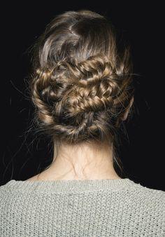 Messy fishtail bun #wedding #hair