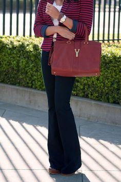 Britt +Whit: Britt in a striped blazer and wide leg jeans