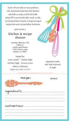 Kitchen Shower Invitation- cute idea, maybe different wording