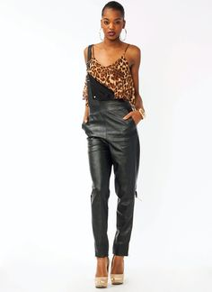 faux leather overalls