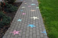 Chalk stars on bricks