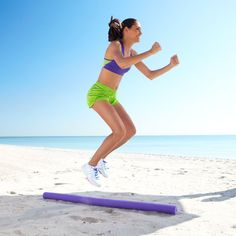 This simple cardio move, Jump the River, only requires your body and a pool noodle! Fun! | Health.com