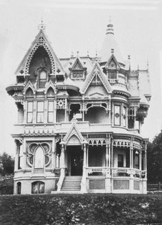 Amazing Victorian home...beautiful in its own way~ but, let's face it...over the top, stuffy, and a bit of an assault on the eyes.  Having painted MANY a time, I can't even imagine the upkeep with the painting of all the gingerbread.  Yikes!