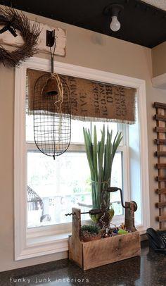 DIY Burlap Coffee Bean Sack Window Shades. Cute idea for the kitchen! Tutorial included.