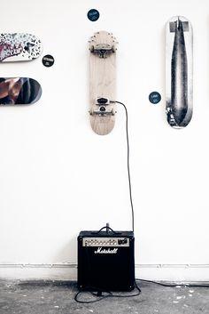 skateboards, wall art, interior, skateboard art, decks, boy bedrooms, ricky martin, guitars, marshalls