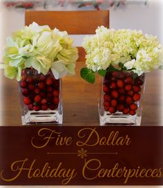 $5 Holiday Centerpieces, easy #christmas #decorations using Ikea vases and cranberries