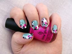 LOVE! polka dots, polkadot, circl, nail arts, valentine nails, nail ideas, bubbl, polka dot nails