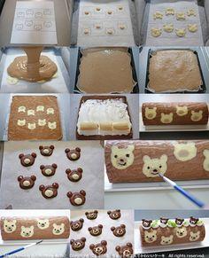 Teddy Bear Cake Roll / Banana Cake Roll / Recipe in Japanese