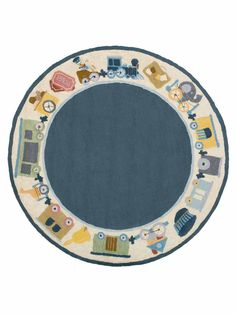 Trains Round Hand-Hooked Rug  RugHome #Rugs