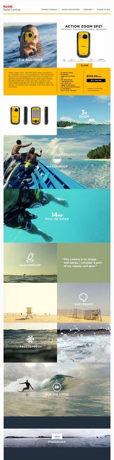 Kodak Digital Cameras   Website design layout. Inspirational UX/UI design sample.  Visit us at: www.sodapopmedia.com #WebDesign #UX #UI #WebPageLayout #DigitalDesign #Web #Website #Design #Layout