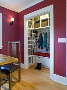 DIY - If you have an oversized coat closet that doesn't get the right amount of usage, transform it into a mudroom on it's own!  Use these tips and suggestions to make sure the space is well used and you have organization that you don't mind seeing without the doors on the closet!