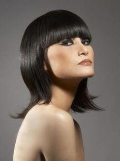 short hairstyle straight bangs