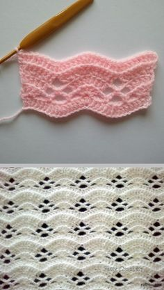 Le motif de La Petite Grise - French site tutorial for this lacy arched stitch, with step-by-step photos; Google translate helps a little.  written & diagram instructions ~ http://www.ravelry.com/patterns/library/wrap-it-up-scarf #crochet #arch ✿⊱╮Teresa Restegui http://www.pinterest.com/teretegui/✿⊱╮