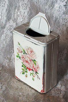 repurposed pepper tin box shaker shabby chic white wash pink roses powder vanity