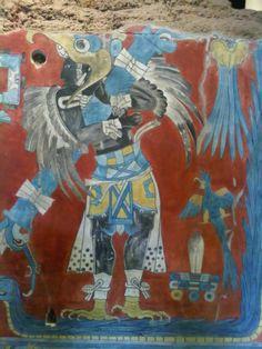 Personaje alado, facsímil del mural de Cacaxtla en Tlaxcala, MNA