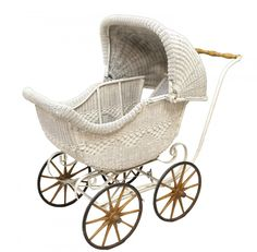 WICKER BABY CARRIAGE, C. 1920'S