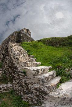 Stairway to Xunantunich mayan temple ruins in western Belize