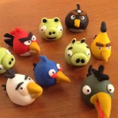 Angry type Birds cupcake toppers or cake decorations edible Elaine Hayes Brown