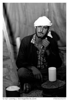 Bedouin man in a tent, Judean Desert. West Bank, Occupied Territories (Israel)