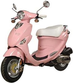 """A pink scooter! And it's called a """"Buddy""""! I need this. $1899 for 50cc (no clue what that means). Beep beep!"""