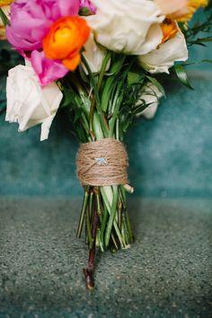 "bouquet fastened with a ""something blue"", photo by Veronica Varos http://ruffledblog.com/fallingwater-barn-wedding #weddingideas #flowers"