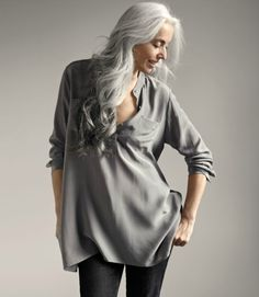 Love the soft gray silk with the slightly lighter silver hair