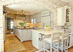 Beautiful kitchen, love the brick arch. interior, arch, cabinet colors, southern charm, bricks, hous, exposed brick, dream kitchens, white kitchens
