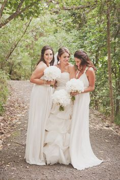 an all white wedding complete with neutral bridesmaids. love this look by Anne Barlow  Photography by http://katemacpherson.com
