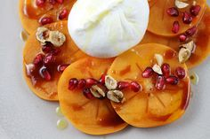 Persimmon carpaccio with burrata