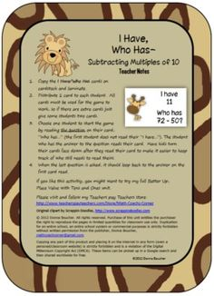 Students subtract multiples of 10 (ex. 46 - 20) with this jungle-themed I Have/Who Has card game.  Includes a themed 100 Chart for support.I ho... charts, futur classroom, students, educ idea, card game, havewho, math idea, cards, 100 chart