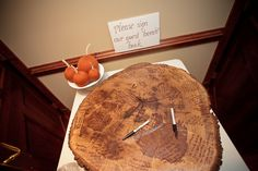 wedding guest book, idea, guest books, tree stumps, benches, trees, wood slices, guestbook, wedding guests