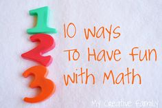 Great maths play ideas from @Terri Thompson of My Creative Family - lots of fun ways to work on maths with the kids