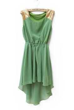 Sequined Solid Waist Irregular Chiffon Dress Green