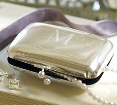 ~Monogram Silver Purse with pearls | The House of Beccaria#