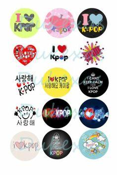 "30 Precut I LOVE KPOP Bottle Caps Images, Scrapbook, Hair Bows, 1"" circle"
