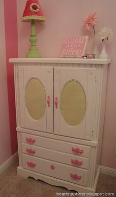 This has given me inspiration on how to transform an ugly piece of furniture into something really cute and pretty!