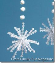 pipe cleaners and bead snowflake ornaments