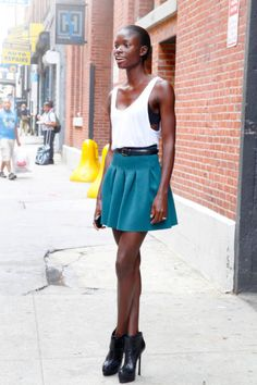Jeneil in an Alexander Wang tank and American Apparel skirt with YSL shoes #streetstyle #NYFW