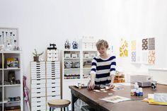 lotta jansdotter in her studio