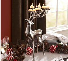 Silver Plated Reindeer Candelabra